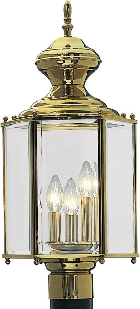 Progress Lighting P5432-10 Hexagonal Post Lantern with Clear Beveled Glass, Polished Brass