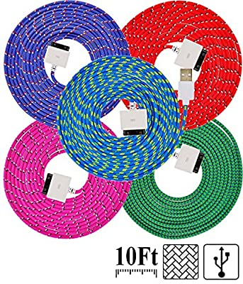 UNISAME [Pack of 5 Pcs] Colorful 10Ft 3 Meter Rugged Nylon Braided 30 Pin USB Charger Cord Charging & Sync Data Extension Cable for iPhone 4 4S 3GS 3G, iPad 2, iPad 3, iPod Touch 1/2/3/4