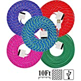 UNISAME [Pack of 5Pcs] 10Ft 3Meter Rugged Nylon Braided 30 Pin USB Charger Cord Charging & Sync Data Extension Cable for iPhone 4 4S 3GS 3G, iPad 2, iPad 3, iPod Touch 1/2/3/4 (Red, Hot Pink, Blue, Purple, Green)