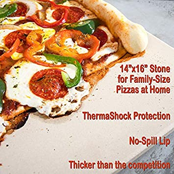 The Ultimate Rectangular Pizza Stone for Oven Grill. 14 x 16 inch Baking Stone with Exclusive ThermaShock Protection Core Convection Tech for a Crunchy Crust on Pizzas Bread. No-Spill Stopper