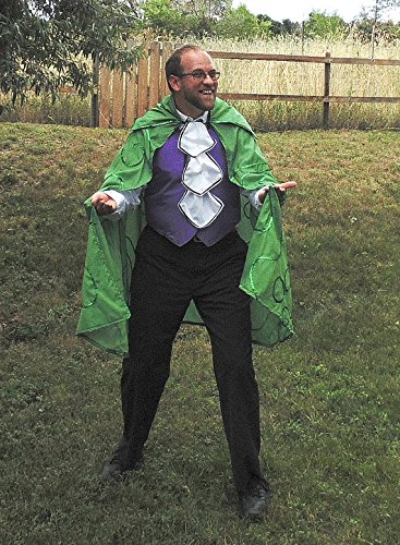 Men's one-size Mr. Riddle superhero Villain costume by Fru Fru and Feathers Costumes & Gifts