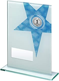 Dimension du Revers : Rectangle en Verre imprimé Blanc/Bleu avec Grand trophée étoile (1'' Centre) – 20,3 cm