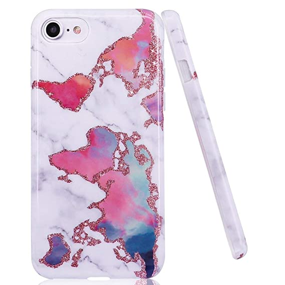 DOUJIAZ iPhone 7/8 Case, World Map Marble Design