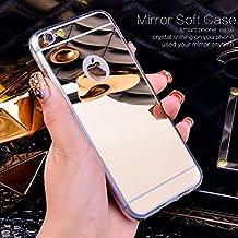 BESTVERT iPhone 6 Plus/6S Plus Mirror case, Thin Luxury Hybrid Glitter Bling Soft TPU Shiny with Glass Mirror Cover Case for Apple iPhone 6 Plus/6S Plus 5.5 inch(Rose Gold)