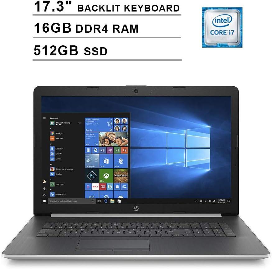 2020 HP Pavilion 17.3 Inch Laptop (Intel 4-Core i7-8565U up to 4.6 GHz, 16GB DDR4 RAM, 512GB SSD, Intel UHD 620, Backlit KB, WiFi, Bluetooth, HDMI, Webcam, DVD, Windows 10) (Silver)