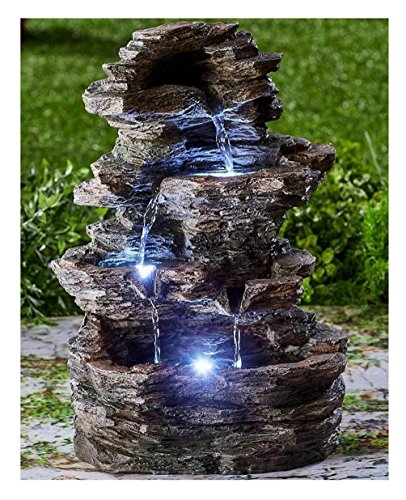 Pro-G Enjoy the soothing sound of falling water from this Stacked Stone-Look Lighted Fountain Zen Garden Yard Decor (Outdoor Falling Water Fountain)