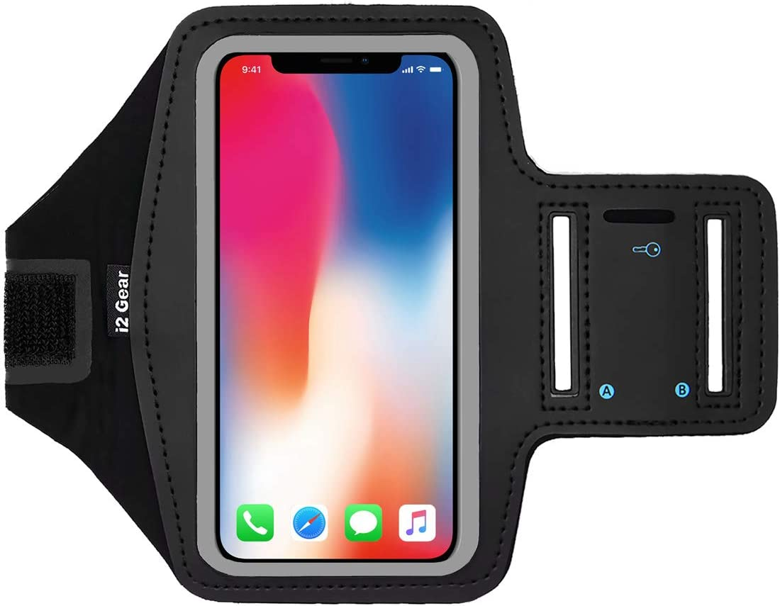 i2 Gear Cell Phone Armband Case for iPhone X , 8, 7, 6, 6S, SE, Galaxy S9, S8, S7, Medium Sizes with Adjustable Arm Strap & Key Holder - Black