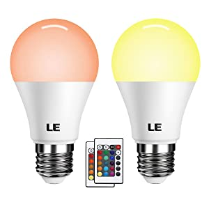 LE A19 E26 LED Light Bulbs, 40 Watt Incandescent Equivalent, RGBW, Dimmable, 6W 470lm, 4 Modes Color Changing With Remote Control, for Home, Living Room, Bedroom and More, Pack of 2