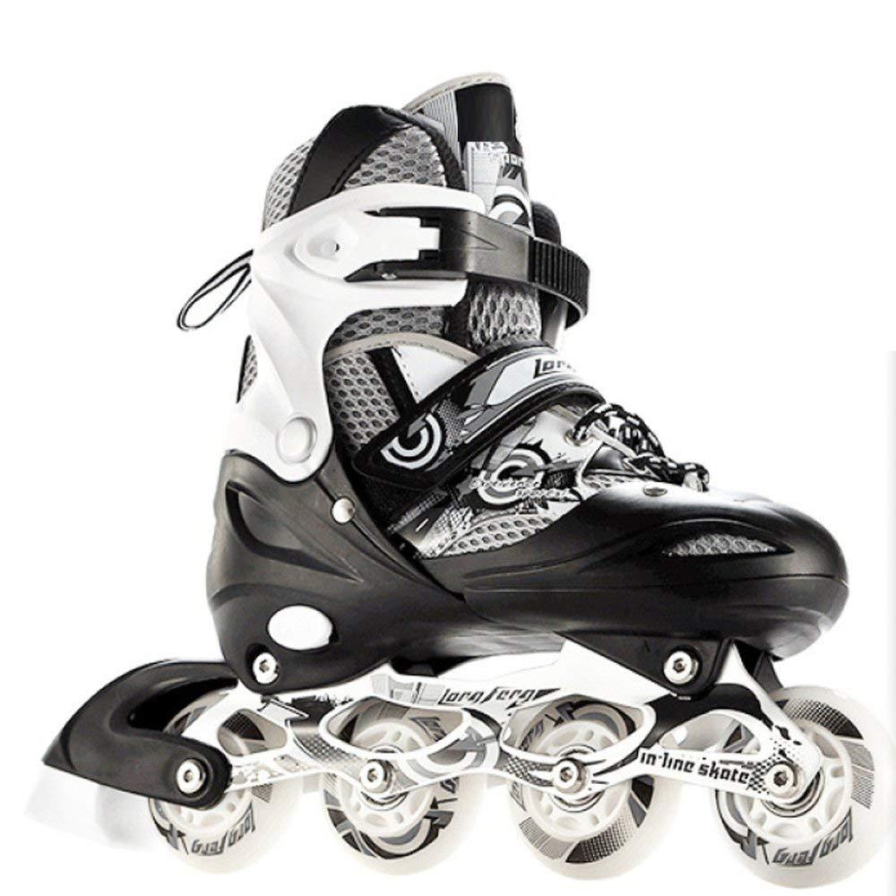 ZYH ローラースケートインラインスケート靴大人の大学生フルフラッシュスケート子供発光調節可能なローラースケート Medium ブラック B07R9XB3K3