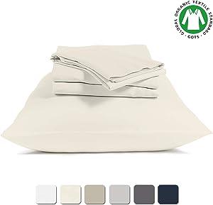 "BIOWEAVES 100% Organic Cotton Sheets 300 Thread Count 4-Piece GOTS Certified Bed Sheet Set Fits Mattress Upto 17"" Deep Pocket, Soft & Silky Sateen Weave (Full, Undyed Natural)"