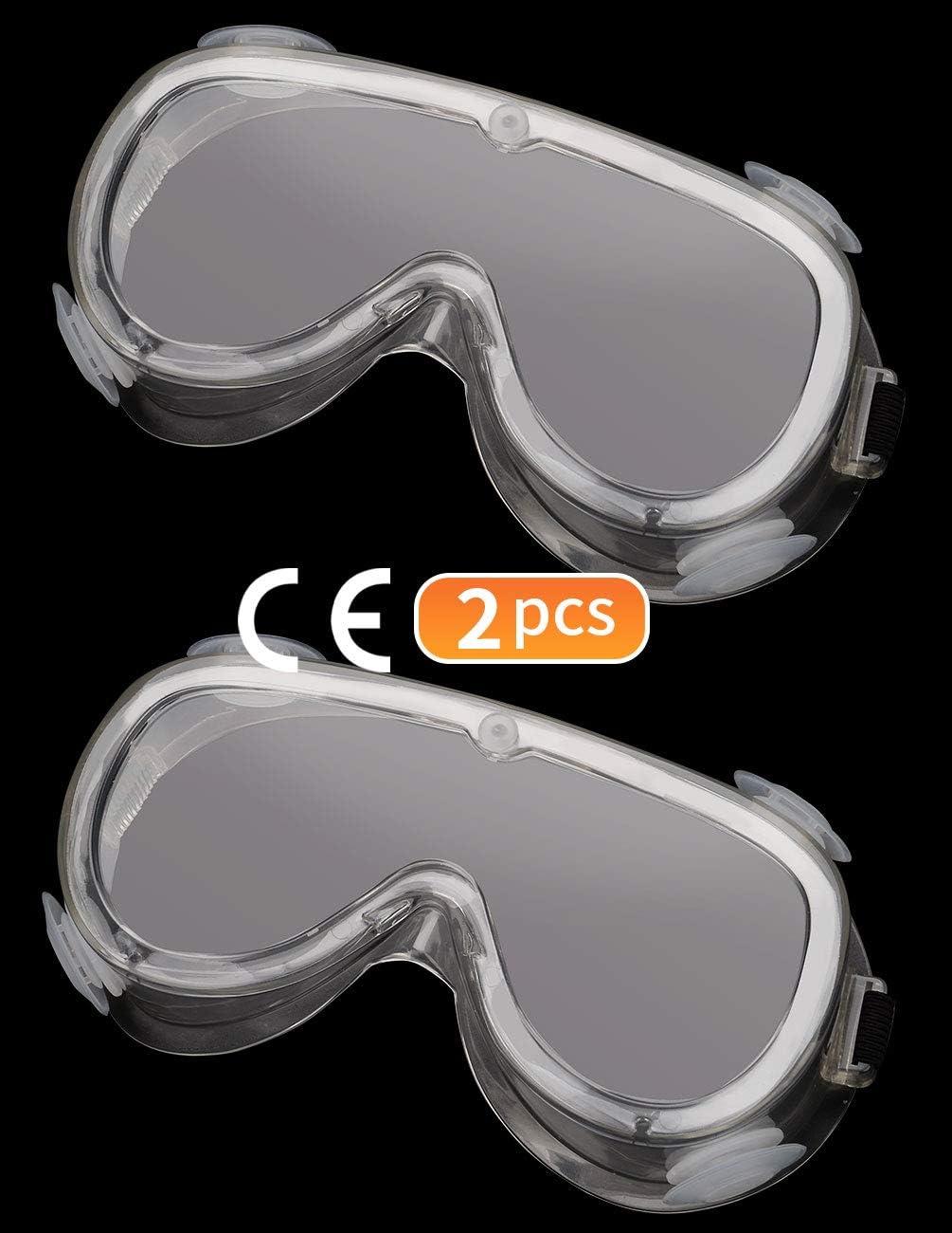 Gafas de Seguridad Antivaho para los Ojos, Gafas Protectoras Transparentes con Banda Elástica Ajustable Ligero Antisaliva, Paquete de 2