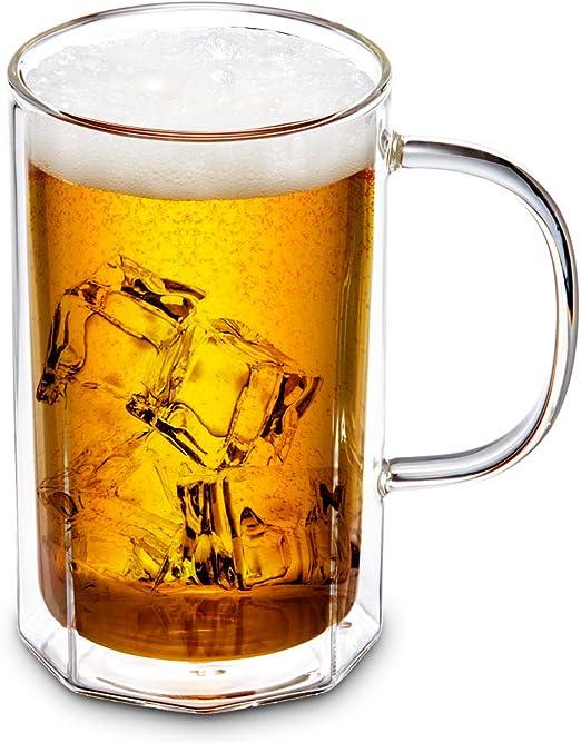 ZENS Taza de cerveza de cristal con asas, vasos de doble pared ...