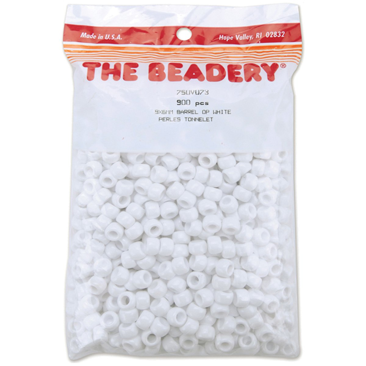 White The Beadery 6 by 9mm Barrel Pony Bead 900-Pieces