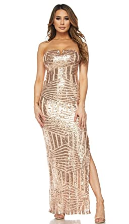 28daabee17d Image Unavailable. Image not available for. Color  SOHO GLAM Rose Gold Side  Slit Strapless Geo Pattern Sequin Maxi Dress