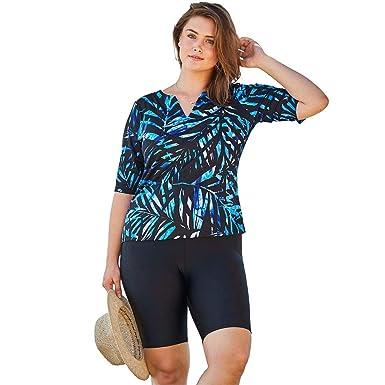 82e71619ddca8 Woman Within Plus Size Three-Quarter Sleeve Swim Tee - Blue Painterly  Leaves, 14