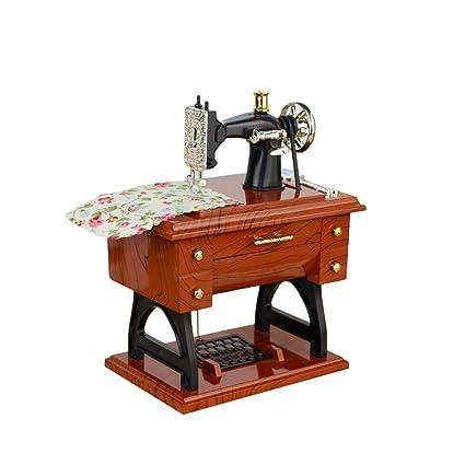 Alician Toy Vintage Simulation Sewing Machine Music Box Retro Treadle Sartorius Decoration as Gifts