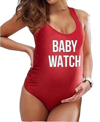 Traje de baño siamés sexy mujer embarazada - Letras Bikini ...