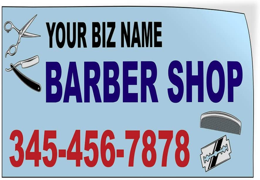 Custom Door Decals Vinyl Stickers Multiple Sizes Business Name Barber Shop Phone Number B Business Barber Shop Signs Outdoor Luggage /& Bumper Stickers for Cars Blue 20X14Inches Set of 10