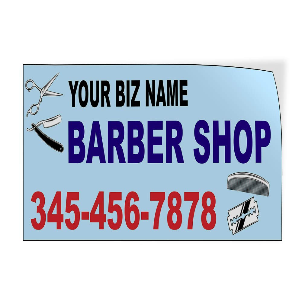 Custom Door Decals Vinyl Stickers Multiple Sizes Business Name Barber Shop Phone Number B Business Barber Shop Signs Outdoor Luggage /& Bumper Stickers for Cars Blue 27X18Inches Set of 5