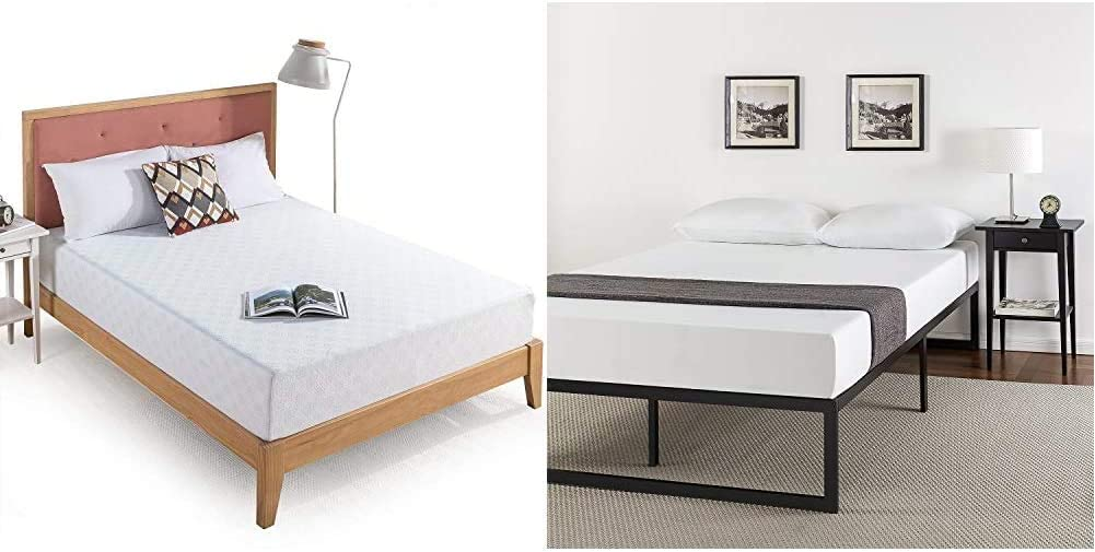 Zinus 10 Inch Gel-Infused Green Tea Memory Foam Mattress, King & ABEL 14 Inch Metal Platform Bed Frame with Steel Slat Support, Mattress Foundation, King