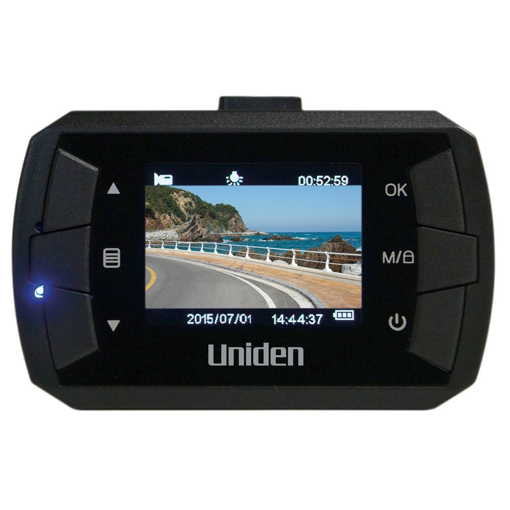 Uniden DC1, 1080p Full HD Dash Cam, 1.5'' LCD, G-sensor with collision detection, loop recording, 140-degree wide angle lens, 8GB micro SD card included