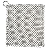 LEADSTAR Cast Iron Cleaner, Household Scouring Pads Stainless Steel Chainmail Scrubber Heavy Duty Anti-Rust Pan Cleaner for Cookwares (7 * 7 Inch)