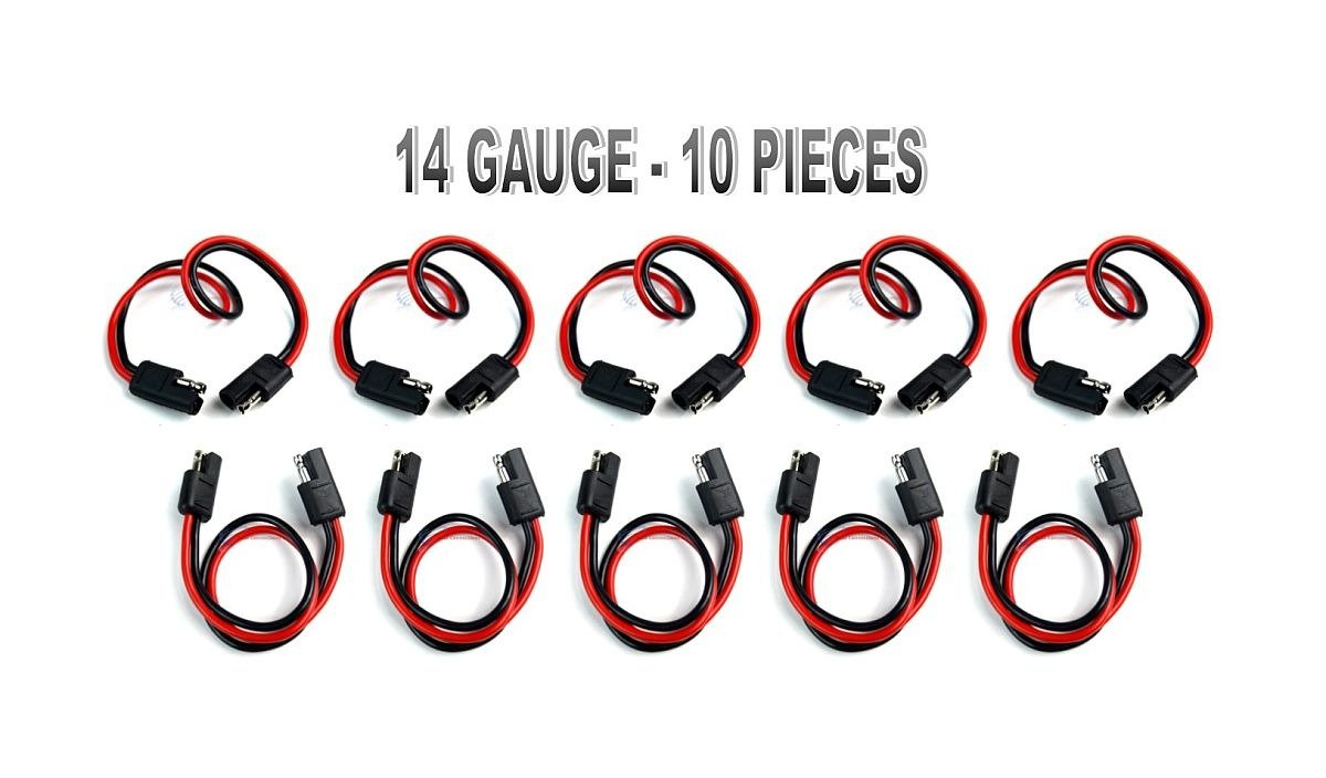 10 PIECES 14 GA 12'' QUICK DISCONNECT POLARIZED INLINE POWER CABLE WIRE HARNESS by Audiopipe