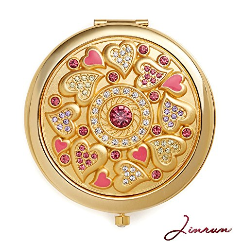 Romantic Gifts for Her | Jinvun Compact Purse Mirror | 24K Gold Electroplate Round 2 Sided |Clear Reflection With Magnification & Diamond Locking Clasp | Freshen Up Makeup & Eliminate Mishaps
