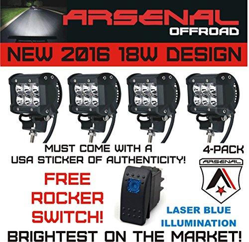 #1 4x 4 Arsenal OffroadTM 18W 6 CREE LED SUV Off-road Boat Headlight Spot Driving Fog Light + Mounting Bracket