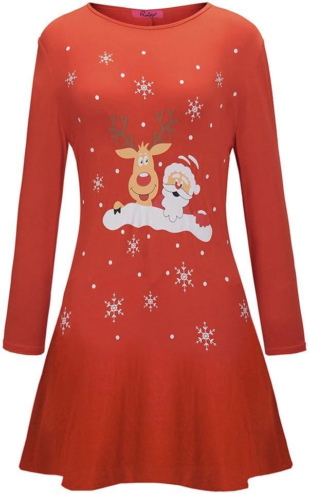 STORTO Women Christmas Dress,Cute Santa Claus Peindeer Printed Dress A Line Dress
