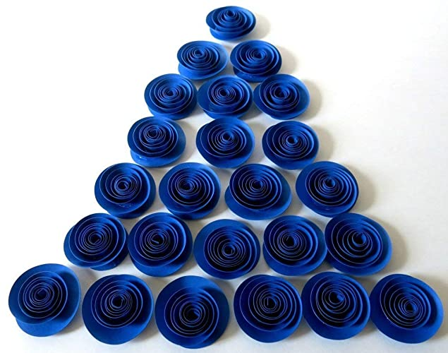 Royal Blue Rosettes 24 Bright Paper Flowers In Bulk Party Supplies Wedding Reception Decorations Baby Shower Decor Birthday Party Gift 1 5