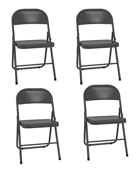 Haku Möbel Juego de 4 sillas Plegables, Tubo de Acero, Negro ...