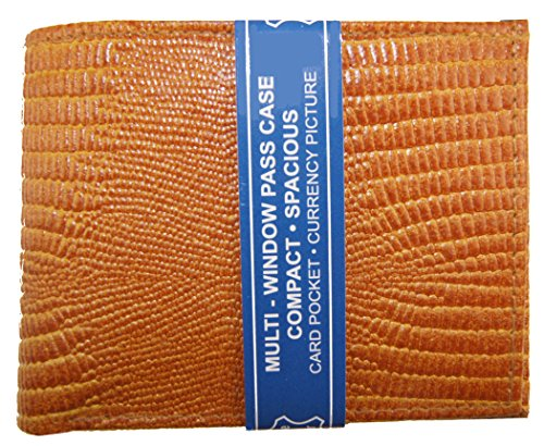 Wallet Mens Genuine Leather Cowhide Bifold Simulated Snake Skin Print Tan
