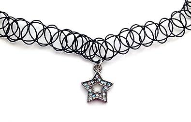 27ec0403345e Collar del encanto del Rhinestone de la estrella del tatuaje elástico collar  Retro negro Henna Vintage 80s 90s elástico de Bohemia  Amazon.es  Joyería