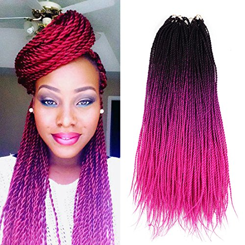 Ombre Senegalese twist 2x Kanekalon Synthetic crochet braiding hair 5 packs/lot 24inch (black pink) - Braids Beautiful