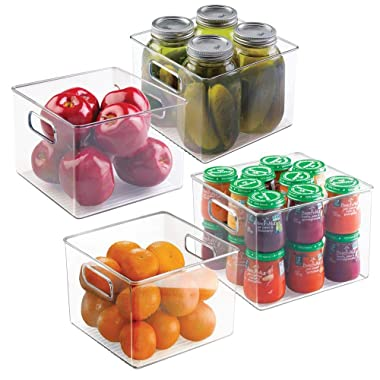mDesign Kitchen Pantry and Cabinet Storage and Organization Bin - Pack of 4, 8  x 8  x 6 , Clear