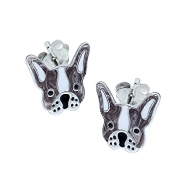 bfbfe51f1829d French Bulldog Earrings - Grey and White - Sterling Silver Gift   Amazon.co.uk  Jewellery