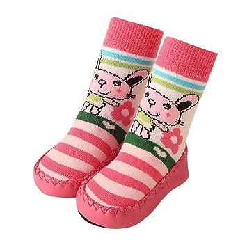 Jiffa Bomu Niños recién Nacidos 1 par de Dibujos Animados Medias Antideslizantes Mocasines Zapatillas de Interior Calcetines Antideslizantes para bebés y ...
