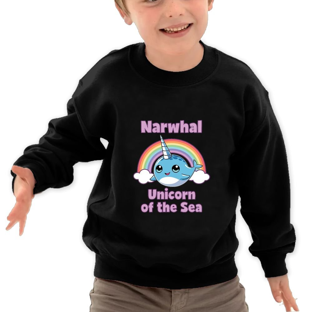 Mkajkkok Narwhal Rainbow Unicorn of The Sea Its Everyday Bro Kids Fashion Round Neck Long Sleeve T-Shirts