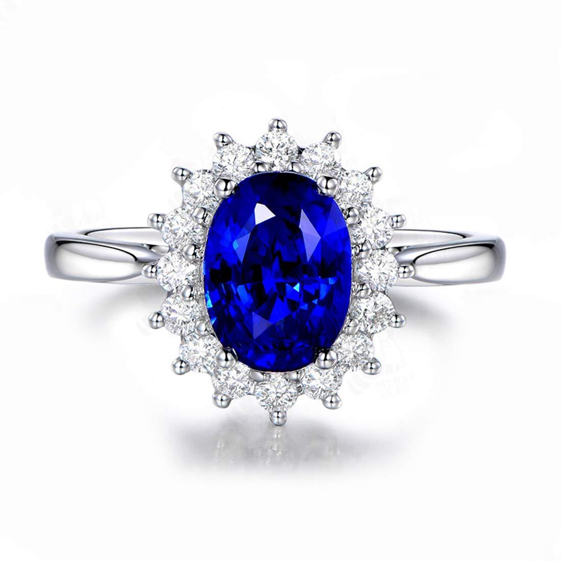 Wicemoon Middleton Bague Argent 925/1000 Saphir Bleu Zirconia Cubique Bague de Fiançailles
