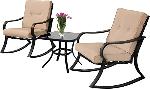 Patiomore 3-Piece Outdoor Patio Furniture Rocking Chairs Bistro Sets