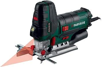 conexi/ón a aspirador de polvo externo 800/W funci/ón de ventilador para l/ínea de corte sin virutas Sierra de calar pendular PSTD 800 B2 de Parkside,/gu/ía l/áser y luz de trabajo LED