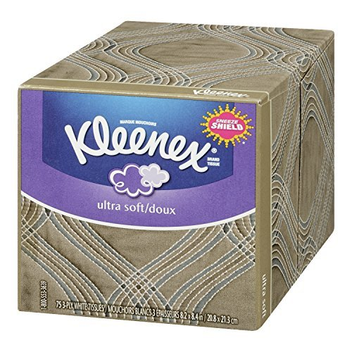 Kleenex Ultra Soft Facial Tissues, 75 Tissues per Cube Box, Pack of 27