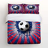 World Cup Soccer Ball Bedding Sets Full Size Red Blue and White Football Decorative 4 Pieces Duvet Cover Set Luxury Soft Flat Sheet Set with Pillow Case for Teen Girls Boys Men Women Children Kids