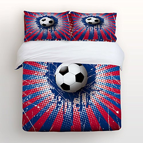 World Cup Soccer Ball Bedding Sets Full Size Red Blue and White Football Decorative 4 Pieces Duvet Cover Set Luxury Soft Flat Sheet Set with Pillow Case for Teen Girls Boys Men Women Children Kids by Z&L Home