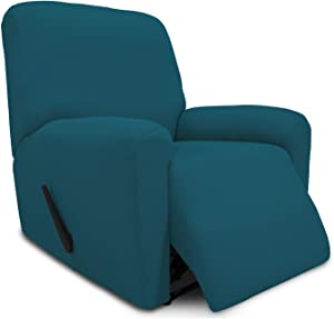Easy-Going Thickened Stretch Recliner Slipcover, Sofa Cover, Furniture Protector with Elastic Bottom, 4 Piece Couch Shield, Sturdy Fabric Slipcover for Pets,Kids,Children,Dog (Recliner,Peacock Blue)
