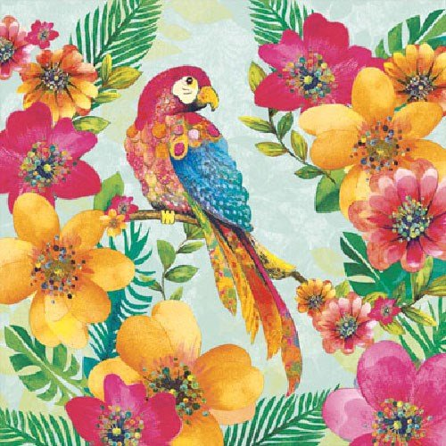 4 Paper Napkins for Decoupage - 3-ply, 33 x 33cm - Tropical Parrot (4 Individual Napkins for Craft and Napkin - Decoupage Frame