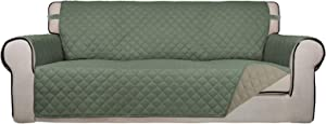 PureFit Reversible Quilted Sofa Cover, Water Resistant Slipcover Furniture Protector, Washable Couch Cover with Non Slip Foam and Elastic Straps for Kids, Dogs, Pets (Sofa, Greyish Green/Beige)