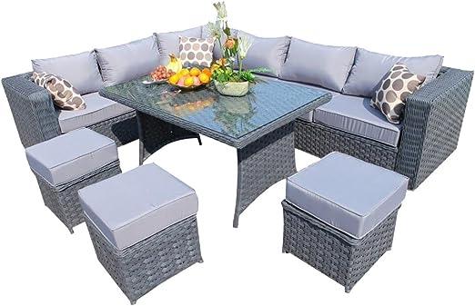 YAKOE Conjunto de mobiliario de Mimbre para jardín, Gama Papaver, Comedor y sofá de Esquina, 9 plazas, Color marrón: Amazon.es: Jardín