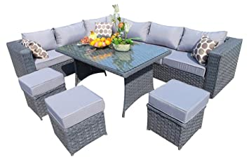 YAKOE Papaver Range Rattan Garden Furniture Corner Sofa And Dining Set With  Fitting Cover, 9